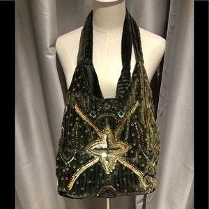Handmade Embroidery Sequin Beaded Velvet Handbag